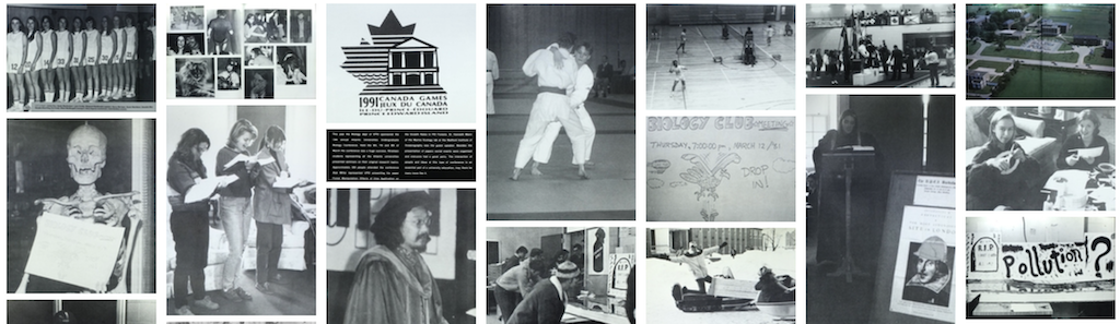banner collage of old UPEI photos in black and white